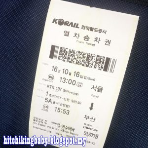KTX ticket to Busan
