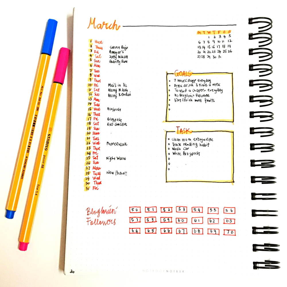 whats-on-march-bujo-monthly-view